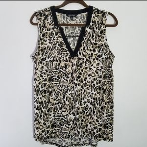 ELLEN TRACY Sleeveless V-Neck Animal Print L
